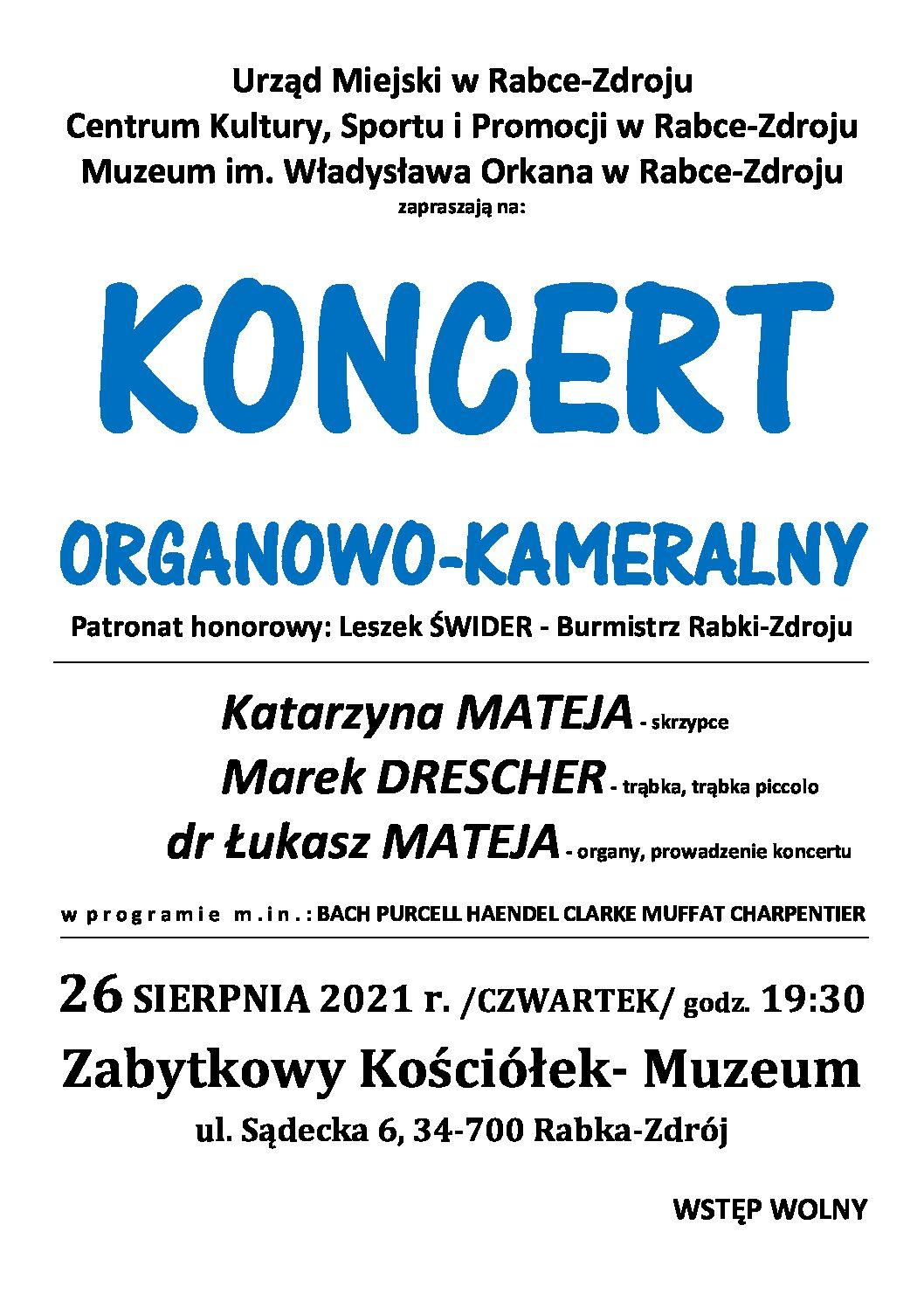 Więcej o: Koncert organowo-kameralny